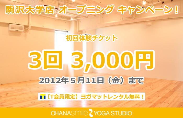 初回3回体験チケットが3000円+ヨガマットレンタル無料!