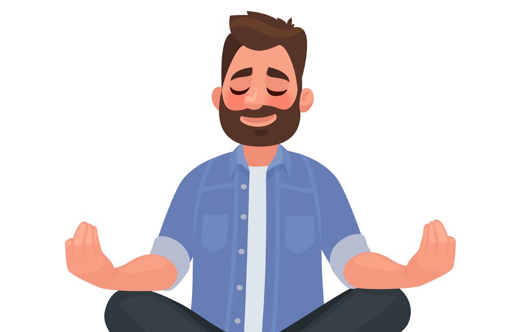 瞑想をする男性のイラスト