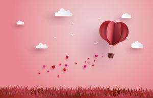 ハートの気球のイラスト